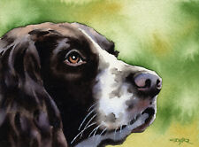 SPRINGER SPANIEL Dog Watercolor Painting 13 X 17 LARGE Art Print by  DJ Rogers