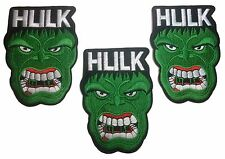 "The Incredible Hulk Big Face Logo  5"" Tall Embroidered Iron On Patch Set of 3"