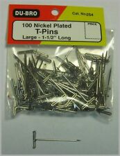 """Du-Bro 254 Stainless T Pins Large 1 1/2"""" Long (pack of 100 pins)"""