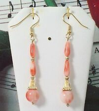 Carved Coral With 14K Gold Earrings. Natural Pacific Coral. COR14K003