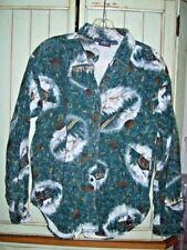 WOOLRICH Vintage  Log Cabin Flannel Shirt Heavy Cotton Rare Print M