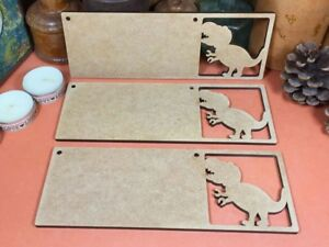 T REX DINOSAUR WOODEN MDF SIGN (x3) wood shape plaque hanger signs gift party
