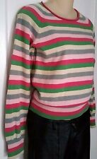 BEN SHERMAN Sweater Pink Green Grey Stripe 100% Cotton Sz M
