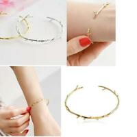 Lady 18K-Gold Plated Twist Thorns Cuff Open Personalized Bracelet Bangle bn