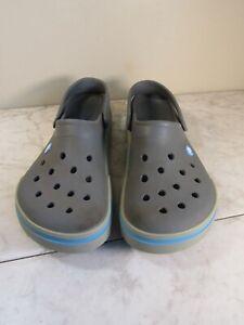 Crocs Unisex Classic Comfort Gray/Blue Clog Shoes Men's 10 Women's 12