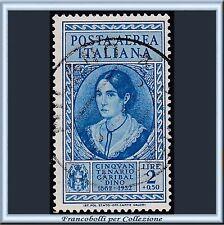 1932 Italia Regno Posta Aerea Garibaldi L. 2 + 50 c. azzurro n. A 35 Usato