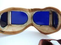 Vintage Antique Steampunk Welding Motorcycle Safety Aviator Round Blue Glasses #