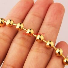 """6mm Hot Fashion Stainless Steel 18K Gold Bead Ball Chain Men Women Necklace 24"""""""