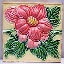 TILE MAJOLICA JAPAN ART NOUVEAU FLOWER DESIGN D K CERAMIC PORCELAIN COLLECTI#236