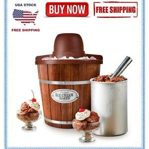 Electric Ice Cream Maker 4-Quart Wood Bucket Frozen Yogurt Sorbet Mixer Soft