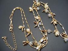 """$18 Nordstrom Shaky Crystal Bead Charm Necklace Fancy Link Goldtone Chain 35"""""""
