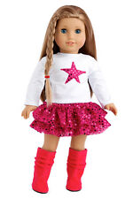 Pink Star - Doll Clothes for 18 inch American Girl, Tulle Skirt Blouse Pink Boot