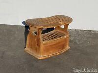 Antique Shoe Shine Box Stool w Drawer