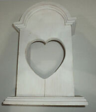 Solid Wood Wooden Shadow Box Primitive Heart Cut Out White Eashed Pine Crafting.