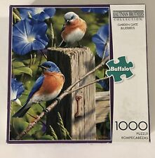 "Buffalo Games Hautman Brothers Jigsaw Puzzle ""Garden Gate Bluebirds""1000 Pieces"
