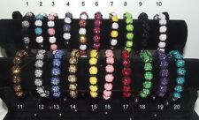 * A SAISIR LOT REVENDEUR 20 BRACELET STYLE SHAMBALLA STRASS disco neuf 9 perles