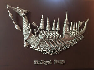 Hand Carved Silver Thai Royal Barge Figurine Brown Wood Frame Asian Table Decor