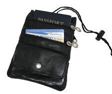 Pasaporte Cuello Piel Identificación Soporte Bolsa Sling Negro Correa US Seller