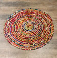 Round Jute And Recycled Cotton Rug - 90 cm, Coffee Table Size, Soft-To-Touch