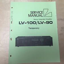 Original Luxman Temporary Service Manual for the LV-100 LV-90 Amplifier ~ Repair