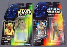 Star Wars PotF Red Card Luke SKYWALKER DAGOBAH FATIGUES & Green Holo Card YODA