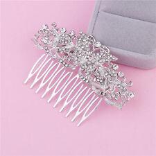 Wedding Bridal Bridesmaid Prom Party Silver Crystal Butterfly Hair Comb Tiara UK