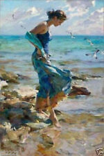 VV269 Modern Room Decor Oil Painting Hand-painted Girl at the beach No Frame