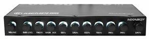Memphis MXAEQ7 1/2 Din 7-Band Car Audio EQ Equalizer w/ Front, Rear + Sub Output