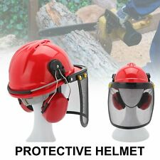 More details for professional chainsaw helmet with ear defenders mesh visor free safety