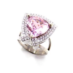 NYJEWEL New 14k White Gold 6.5ct Pink Tourmaline Diamonds Cocktail Ring