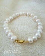 9-10MM Cream White Round South Sea White Pearl Bracelet. 14K  clasp .