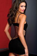 NERO OPACO APERTO rete dettaglio stretch mini abito Lingerie Sexy Firmata p6445