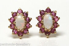 9ct Gold Opal and Ruby Stud Earrings Gift boxed