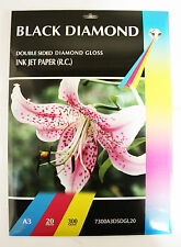 20 fogli Black Diamond A3 300 GSM doublesided Gloss A Getto D'inchiostro Carta Fotografica Lucida