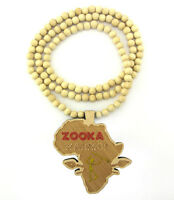 "WOODEN AFRICA ZOOKA WARRIOR PENDANT PIECE & 36"" WOODEN BALL CHAIN NECKLACE GOOD"