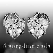 1.38 ct H SI1 heart shape natural diamond stud earrings 18k white gold push back