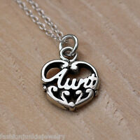 Aunt Charm Necklace - 925 Sterling Silver - Auntie Family Niece Nephew Gift NEW