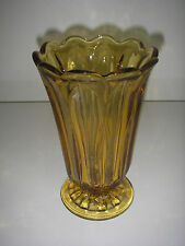 "Anchor Hocking Glass FAIRFIELD Amber Honey Gold Vase Pressed footed 8 5/8""."