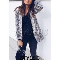 UK Womens Ladies Leopard Snakeskin Animal Skin Printed Jacket Blazer Size 6 - 16