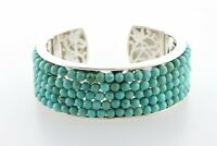 Whitney Kelly Thick Turquoise Beaded Style Sterling Silver 925 Cuff Bracelet