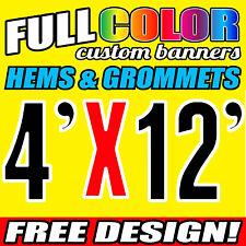 4' x 12' ft Full-Color Custom Banner, 16 OZ Vinyl/ PVC/ Flex Material