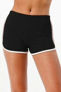New Soft Comfortable Casual Dolphin Elastic Waist Shorts  White In-Seam Piping