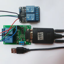 4Ch UART Relay Remote Control Module & USB to Serial Ports RS232 DB9 Switch LED