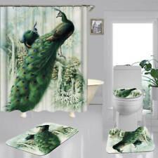 Green Peacock Door Bath Mat Toilet Cover Rugs Shower Curtain Art Bathroom Decor