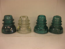 Vintage Hemingray (2) No.42 And (2) No.40 Beaded Bottom Glass Insulator Lot  4