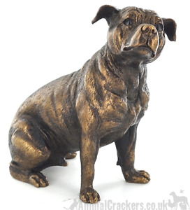 15cm Staffy Staffordshire Bull Terrier Staffie gift bronze effect ornament boxed