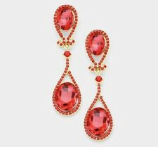 """2.5"""" Red Gold Dangle Drop Rhinestone Prom Long Crystal Pageant Earrings"""