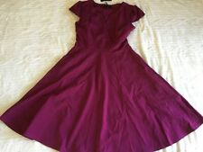 Burgandy Dress Short Sleeve slim waist Dress SIZE L NEW