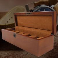 6-Grid Wooden Watch Case Display Storage Box Jewelry Organizer Collection Holder