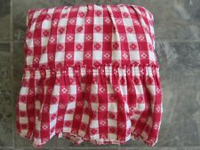 Vintage Twin Bed Skirt Dustruffle Red & White Checkered Shabby Chic Ruffled Cute